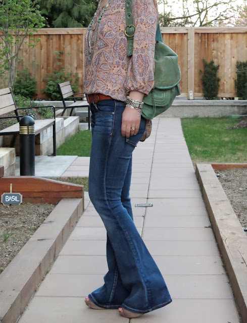 flare jeans, paisley blouse, Lucky Brand bag