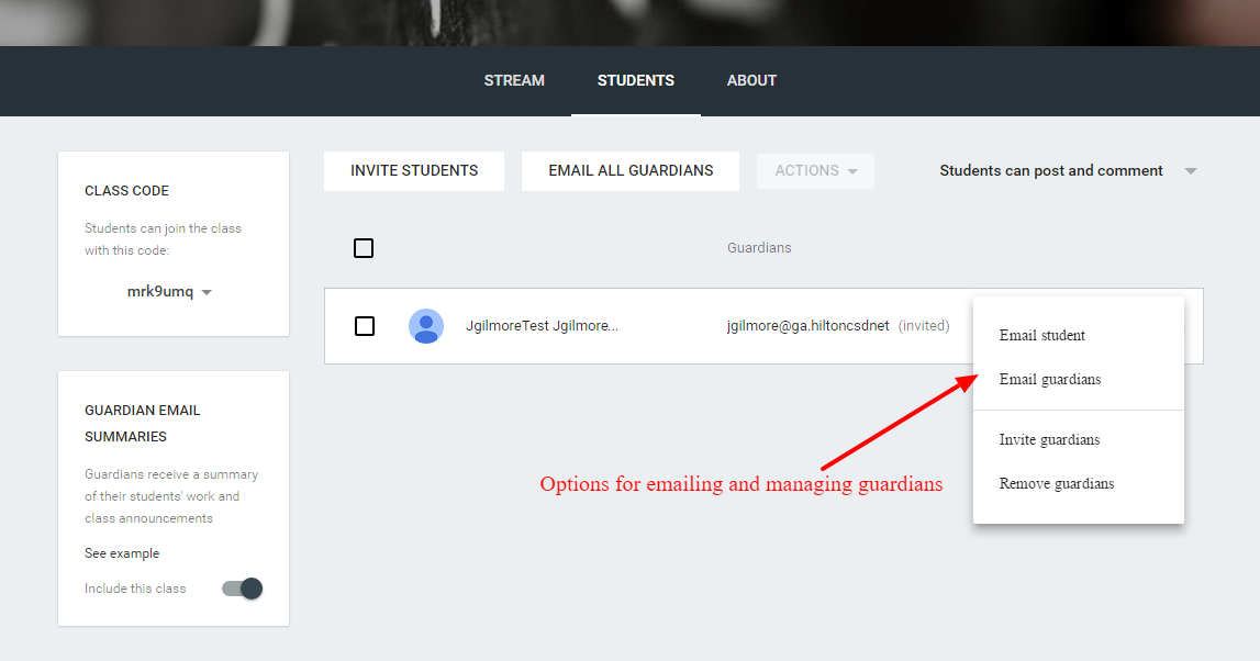 how to add guardian email to google classroom