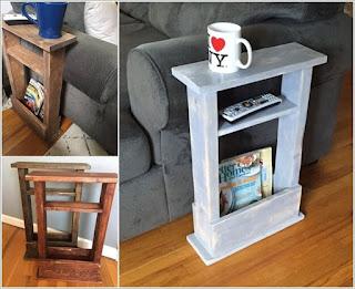 apoya vasos de sillon con palets de madera desarmados