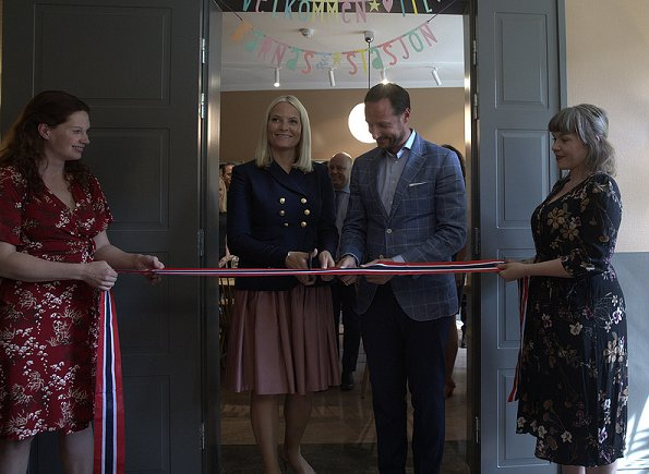 Crown Prince Haakon and Crown Princess Mette-Marit attended the opening of the Blue Cross children's station (Barnas Stasjon, Blå Kors) in Oslo