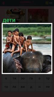 651 слов дети на спине у слона в воде 1 уровень