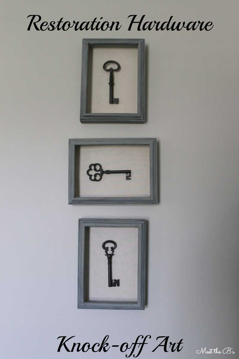 Restoration Hardware knock off skeleton key shadow boxes