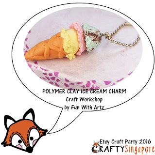 Source: Crafty Singapore. A representative polymer clay ice cream charm attached to a ball chain.