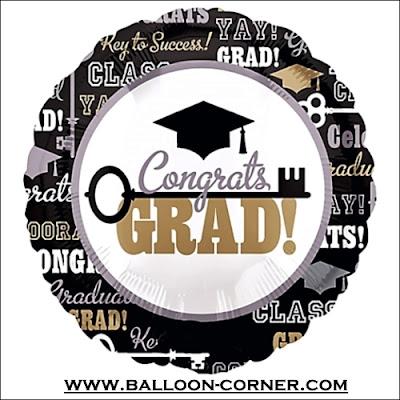 Balon Foil Bulat KEY TO SUCCESS GRADUATION