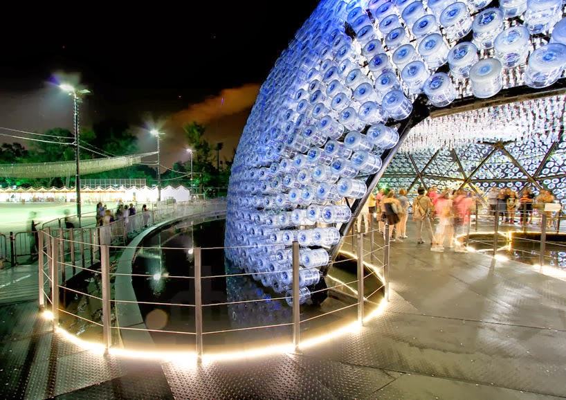 Design pavilion made from recycled water bottles for Household waste recycling centre design