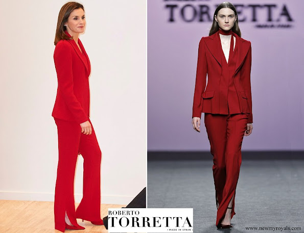 Queen Letizia wore Roberto Torretta from Fall Winter 2017 2018 collection