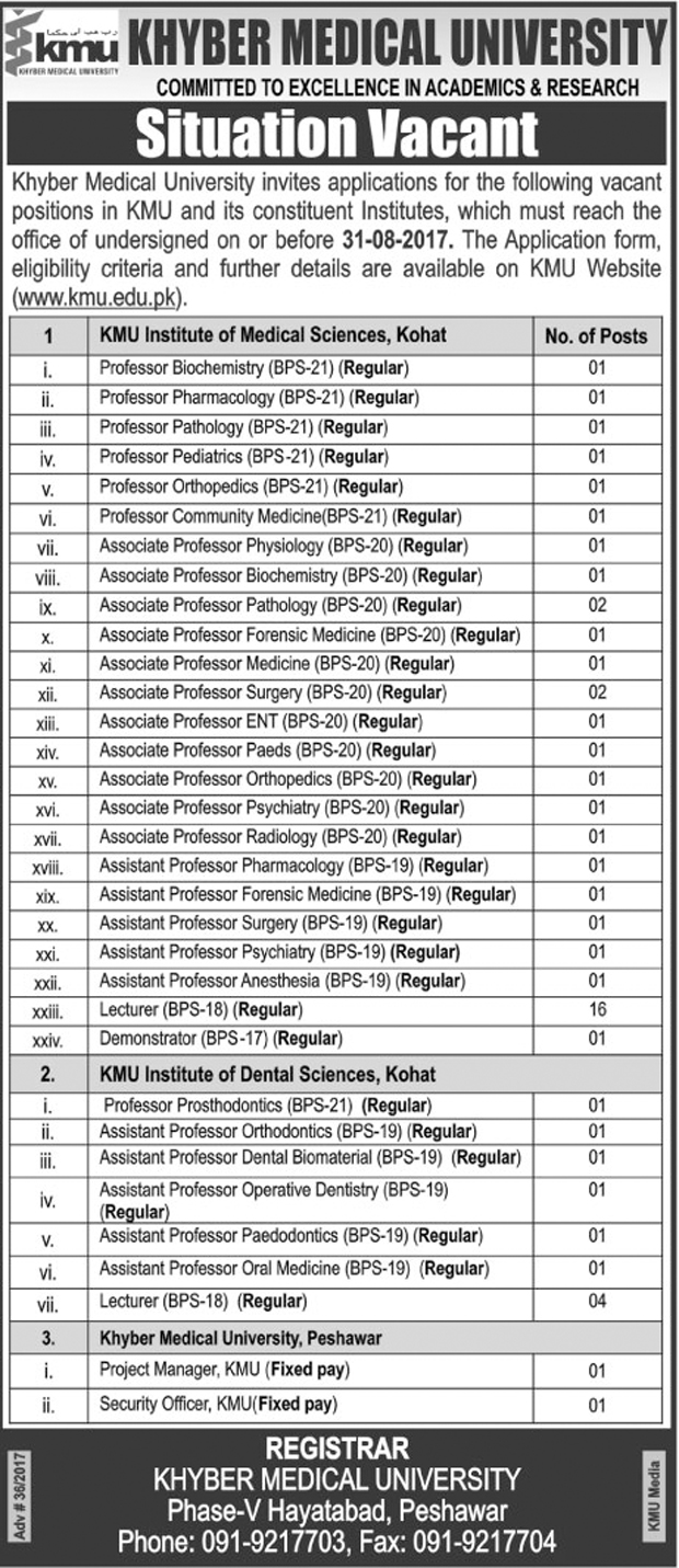 Jobs In Khyber Medical University Peshawar Aug 2017