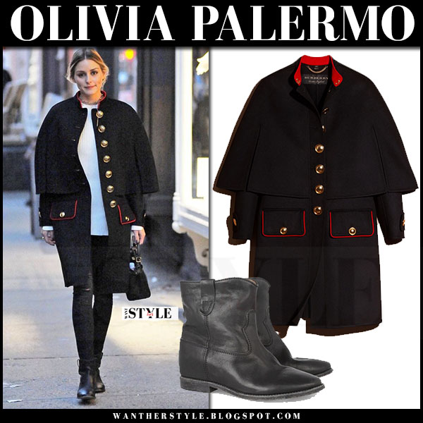 Olivia Palermo in black military cape cod burberry, black jeans and black ankle boots isabel marant cluster what she wore