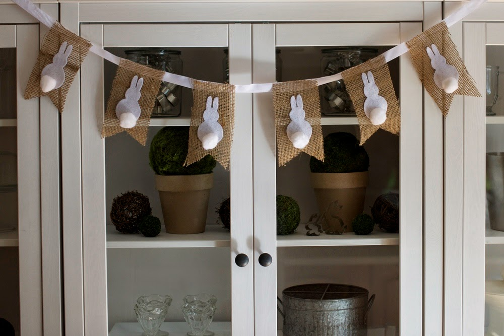 A bunny garland with cotton tails.