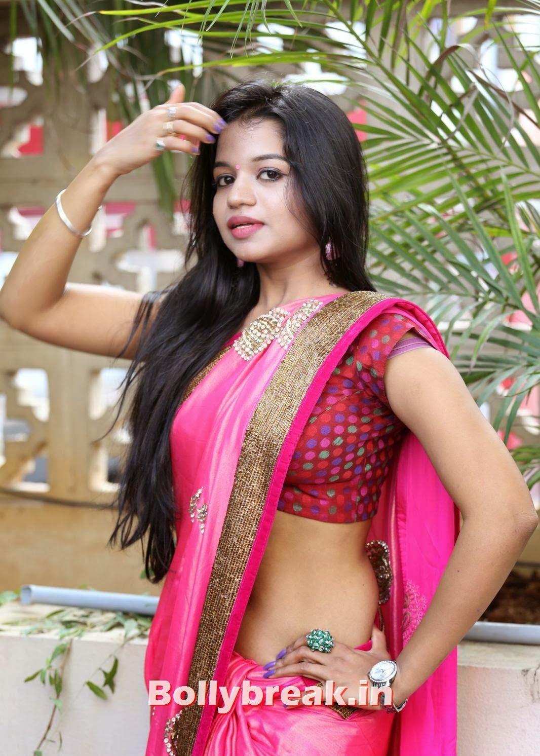 , Bhavya Sri Hot Pics in Red Saree