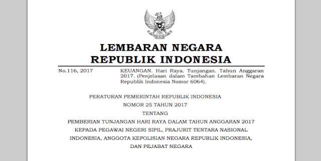 Resmi !! Download PP THR dan Gaji ke 13 Tahun 2017 Telah Terbit