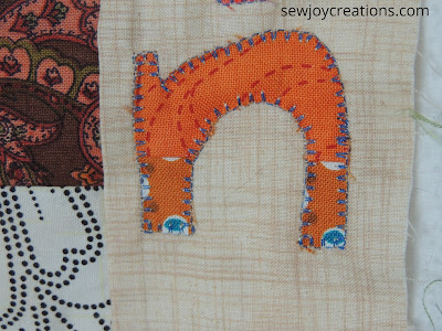 machine blanket stitch around letter