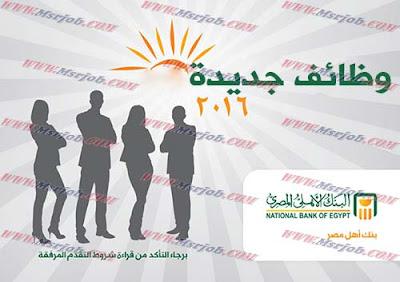 وظائف البنك الاهلى المصري والتقديم حتى 30 يونيو 2016