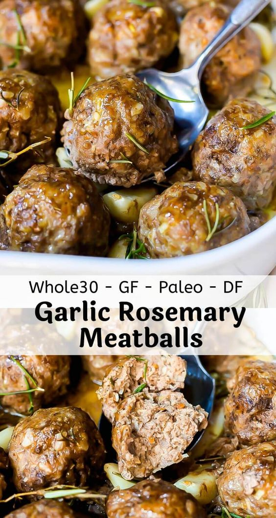Garlic Rosemary Whole 30 Meatballs