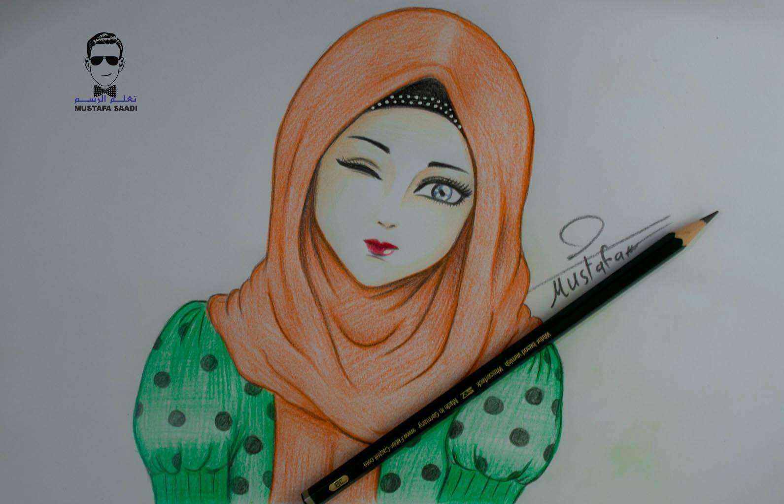 رسم انمي محجبة تعلم الرسم