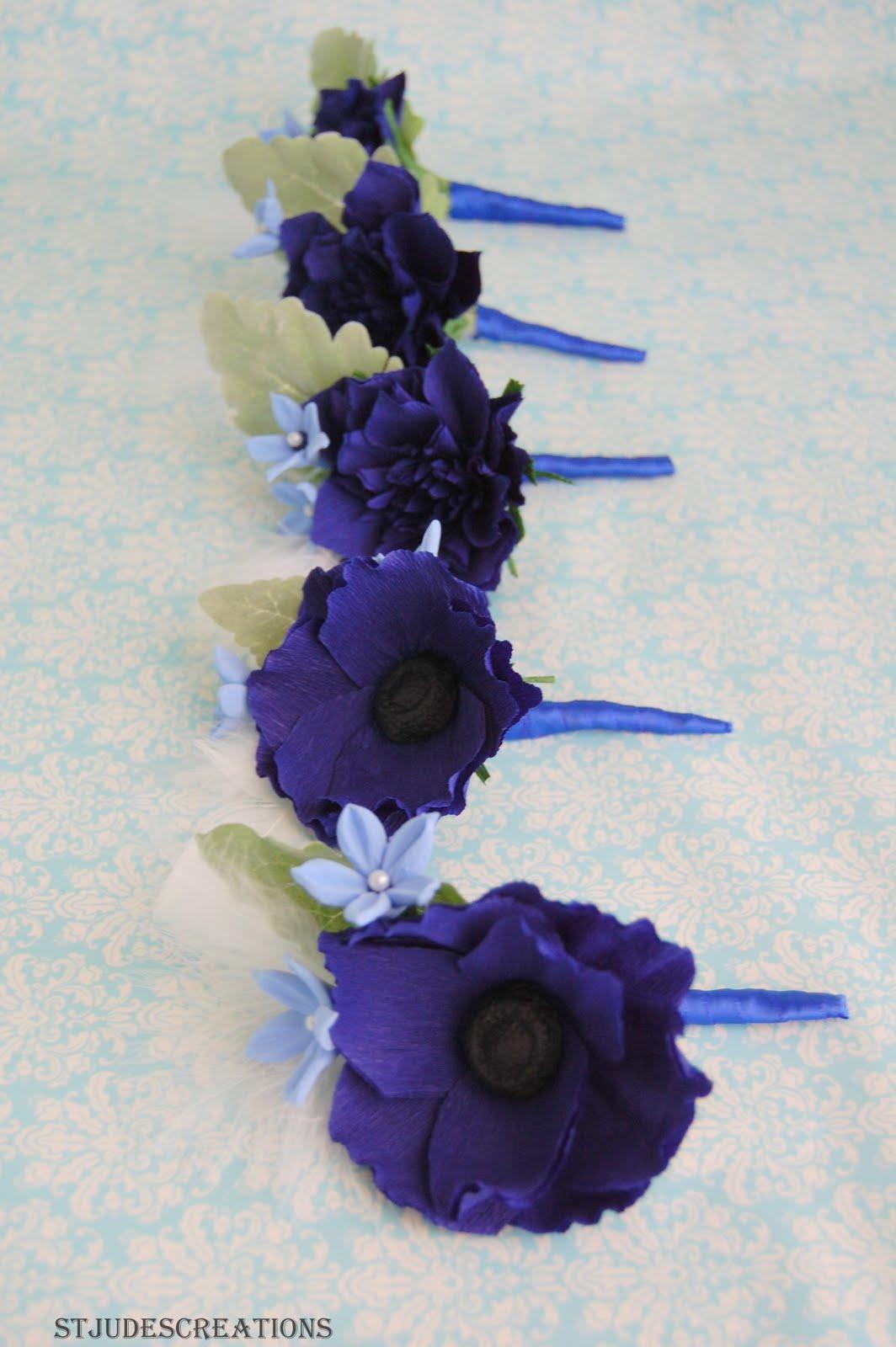 Midnight Royal Blue Wedding Bouquet Paper Flowers