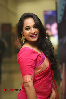 Actress Pooja Ramachandran Pictures in Red Silk Saree at Siddhartha Audio Release  0079