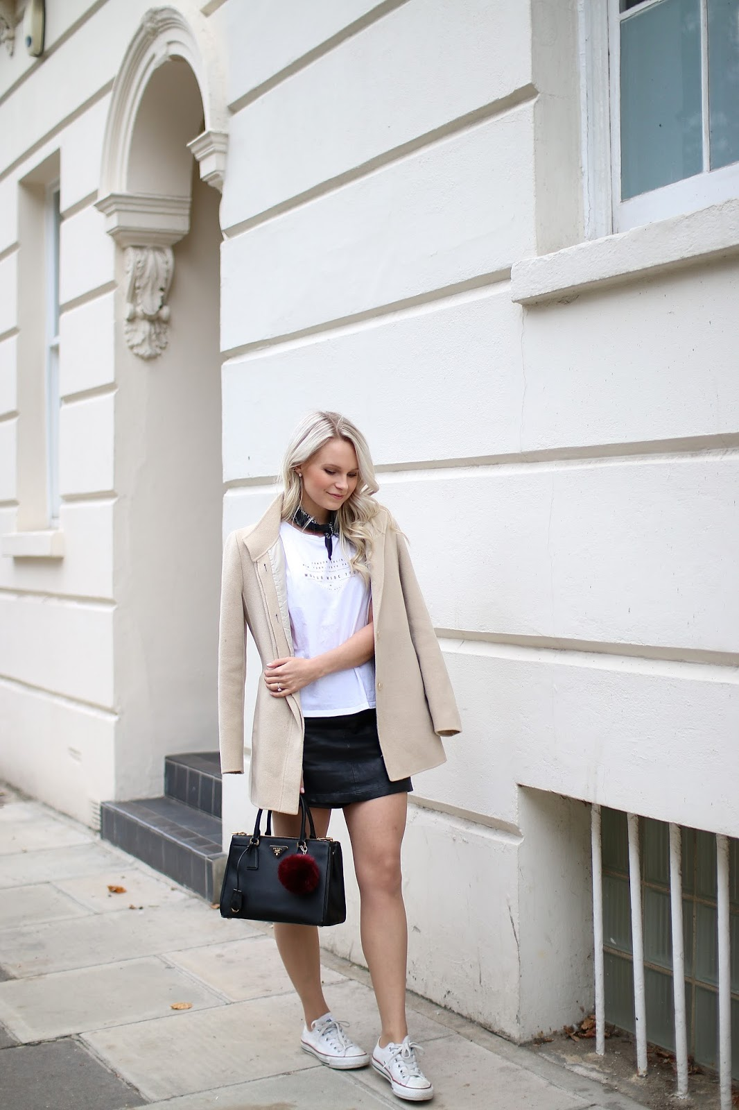 blogger wandering through the beautiful streets of notting hill, wearing forever21 leather skirt, white converse shoes and prada handbag