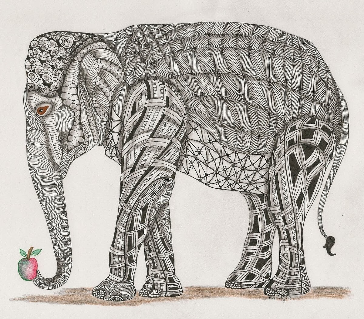 02-Elephant-Adri-van-Garderen-Animals-Given-the-Zentangle-Treatment-www-designstack-co