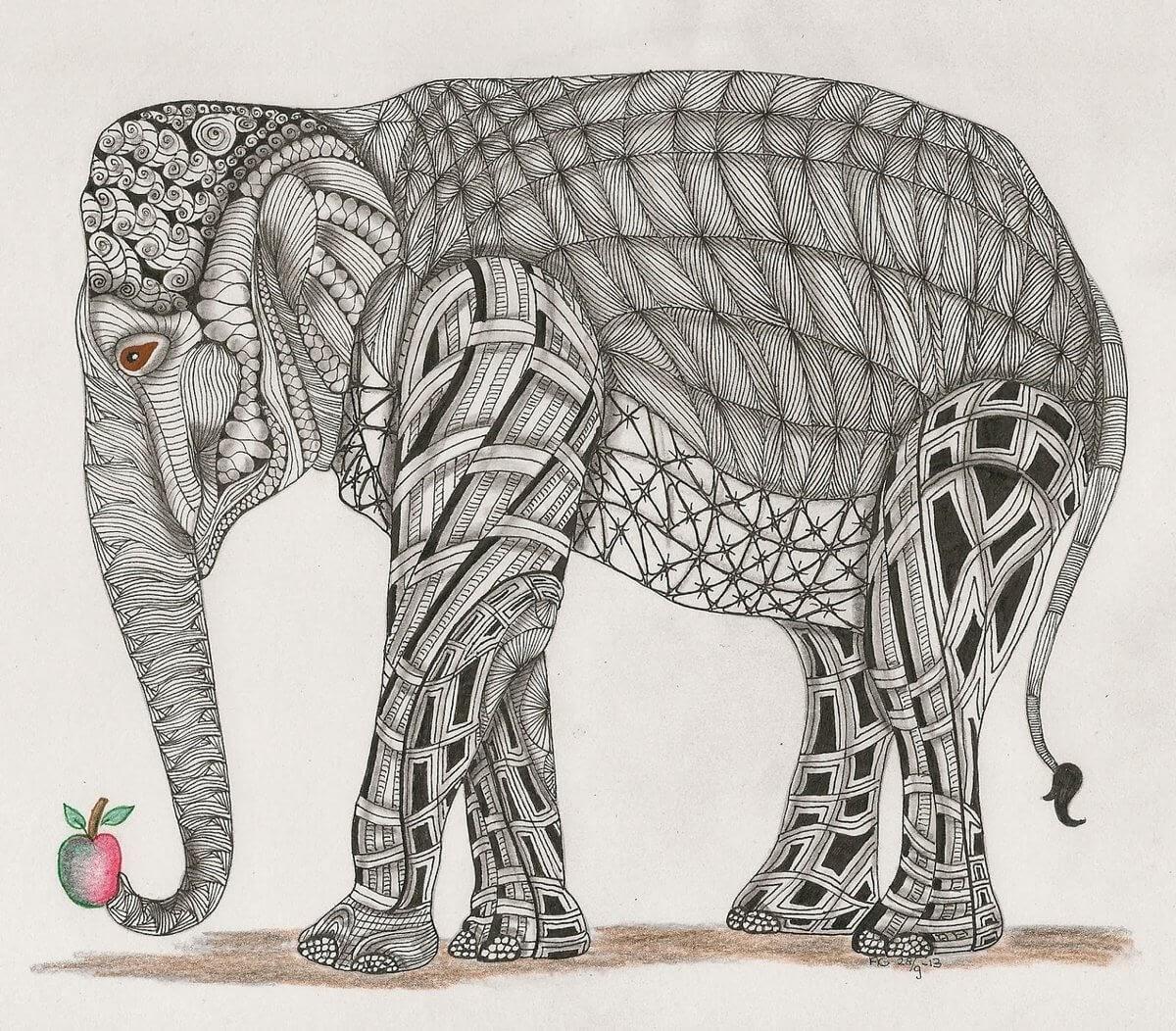 02-Elephant-Adri-van-Garderen-Animals-Given-the-Zentangle-Treatment-www-designstack-co