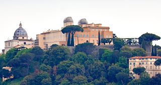 The pontifical palace in Castel Gandolfo, with the two domes of the Vatican observatory