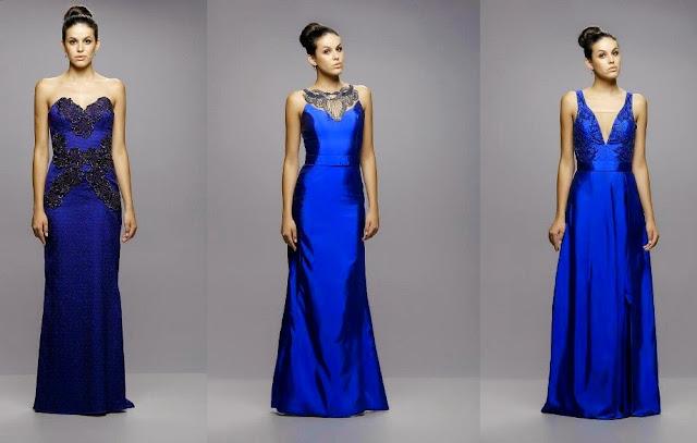 Resultado de imagem para vestido de festa azul