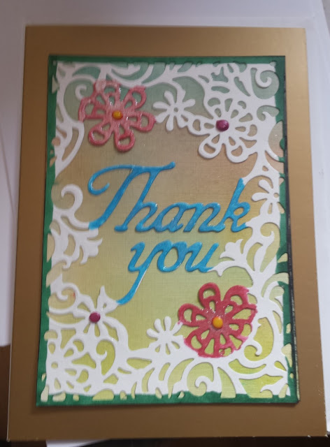 "Thank you - floral 5"" x 7"" card (Adorable Scorable)"
