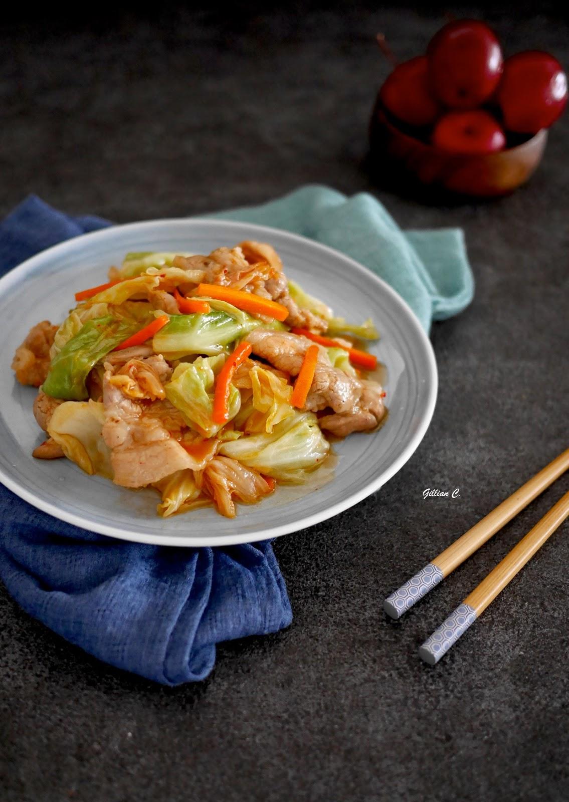 『松露姊姊食譜分享』@ 豬五花炒韓式泡菜與高麗菜