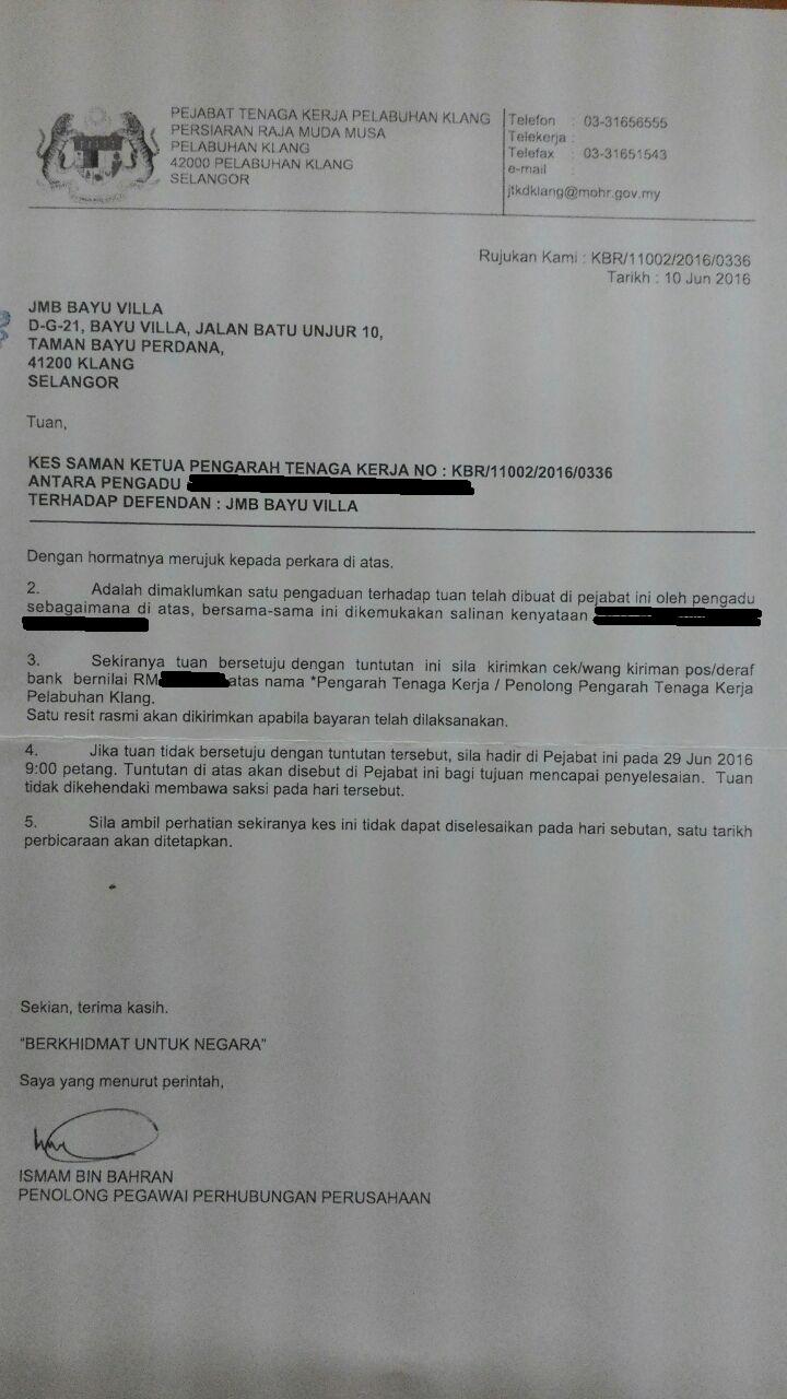Bayu Villa Apartment Klang Kes Saman Pengawal Keselamatan Lama Keatas Jmb Bayu Villa Melalui Pejabat Buruh