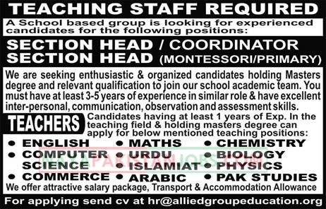 Latest Vacancies Announced in School Based Group for Teaching staff 28 October 2018 - Naya Pakistan