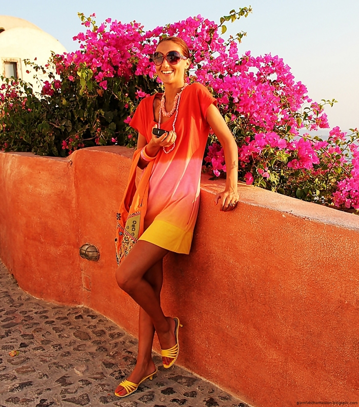 Orange-pink-yellow ombre sundress styled outfit