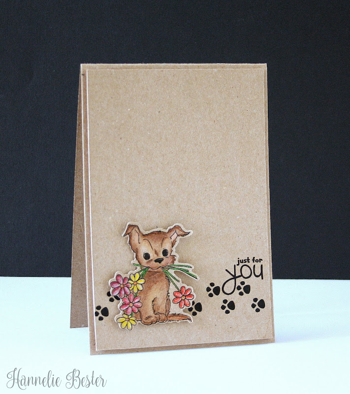just for you puppy card - pencil and kraft