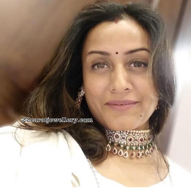 Namrata Shirodkar Diamond Ruby Choker