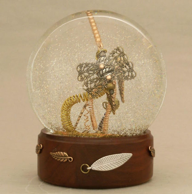 Dragonfly Steampunk Snow Globe