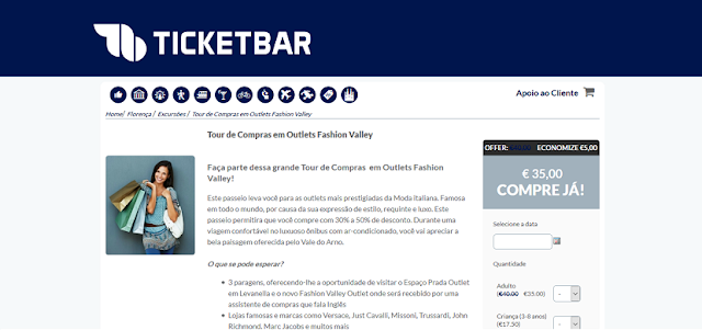 Ticketbar para ingressos para o tour de compras nos outlets Fashion Valley em Florença