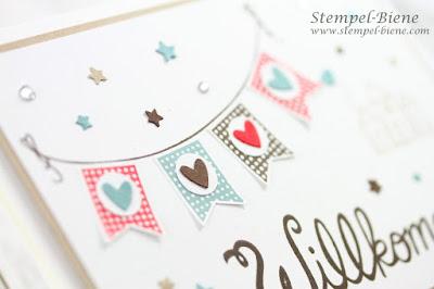Karte zum Einzug; Einzugskarte; Stampinup Einzug; Willkommenskarte Nachbarschaft; Stempel-biene; Nachbarschaftsgeschenk basteln