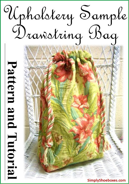 Upcycled upholstery sample drawstring bag pattern & tutorial made for Operation Christmas Child shoebox.