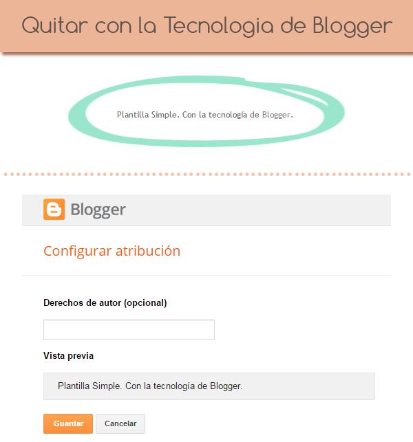 Quitar atribución blogger