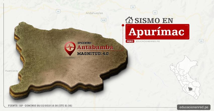 Temblor en Apurímac de magnitud 4.0 (Hoy Domingo 28 Octubre 2018) Sismo EPICENTRO Antabamba - IGP - www.igp.gob.pe