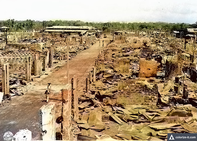 Lipa was in ruins after liberation.  Image source:  US National Archives.  Colorized courtesy of Algorithmia.