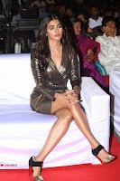 Pooja Hegde looks glamarous in deep neck sleevless short tight golden gown at Duvvada Jagannadham thank you meet function 099.JPG