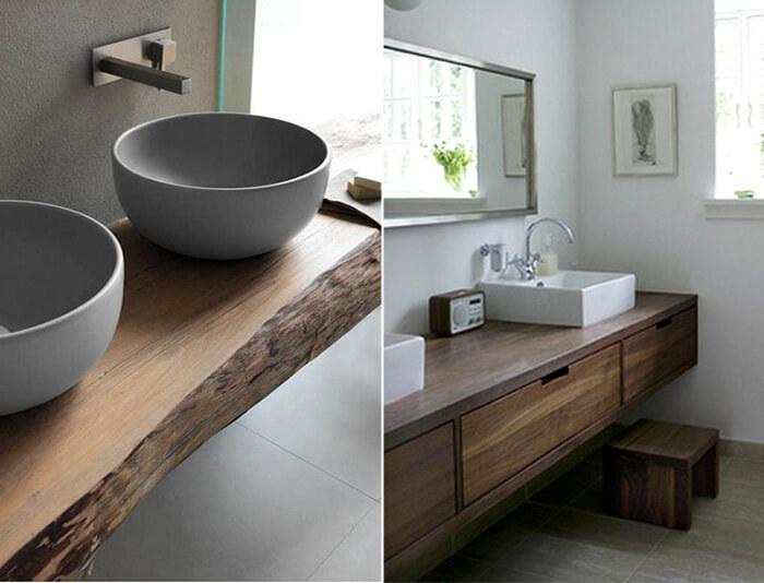 Arredo bagno costituito da mobili in legno massello