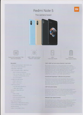 Redmi Note 5 Specs Sheet