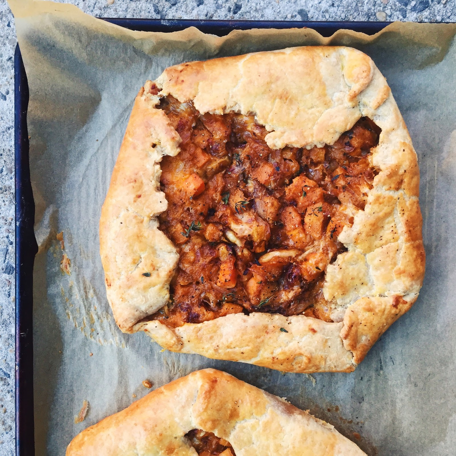 amour fou(d): butternut squash and caramelized onion galette.