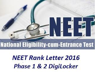 NEET Rank Letter 2016 Score marks Rank card digilocker Toppers list  Download @ aipmt.nic.in