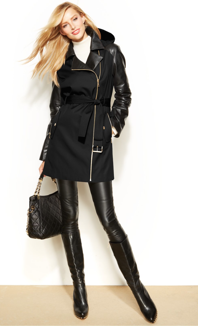 MICHAEL Michael Kors Mixed Media Hooded Trench Coat