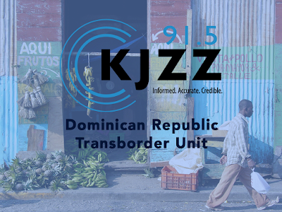 Photo of person carrying bag through farmers market with KJZZ Logo Text: KJZZ 91.5 Informed. Accurate. Credible. Dominican Republic Transborder Unit