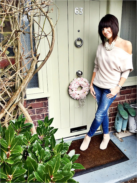 My Midlife Fashion, Pearls, Zara cashmere off the shoulder jumper, zara skinny distressed denim jeans, hudson kiver ankle boots
