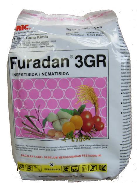 Label Furadan ada gambar padi, tomato dan beberapa jenis buahan