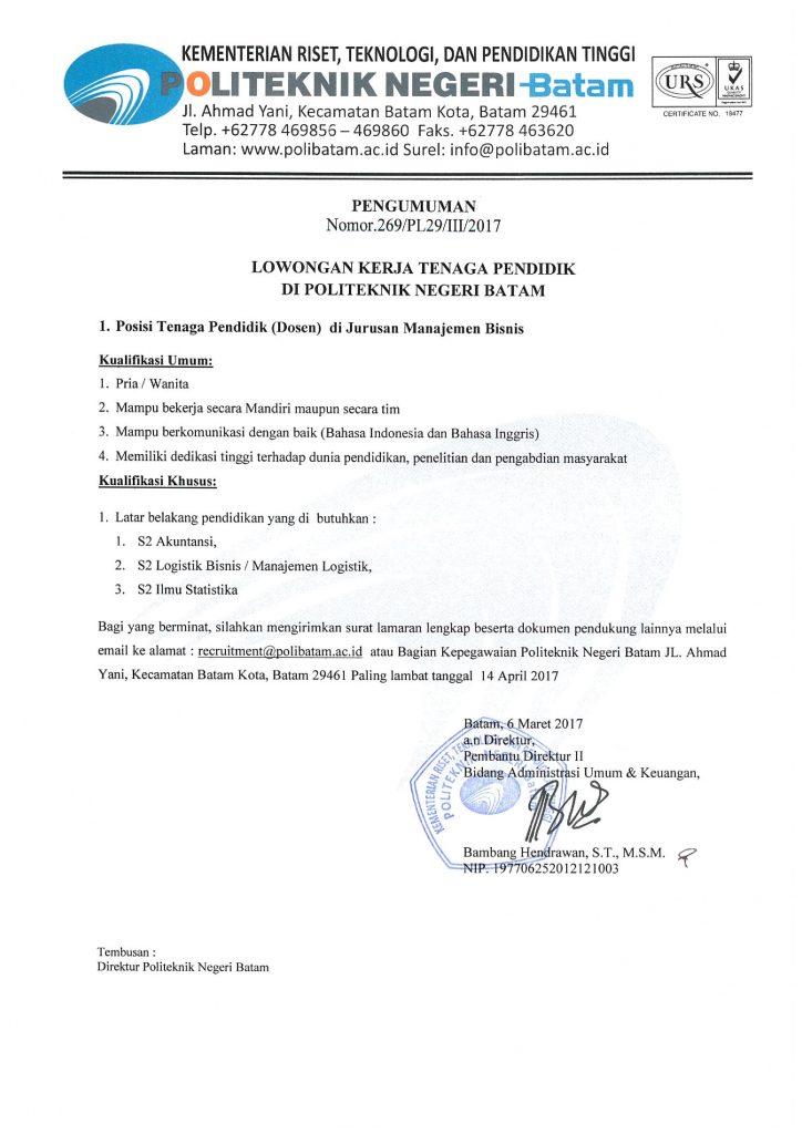 Penerimaan Pegawai Politeknik Negeri Banjarmasin (POLIBAN) Tahun 2017
